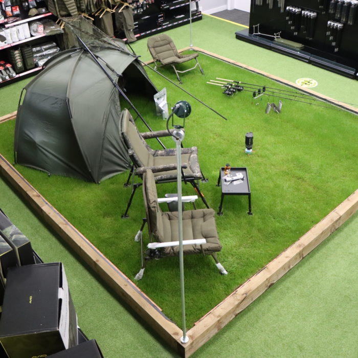 Bivvy setup in fishing store in Essex